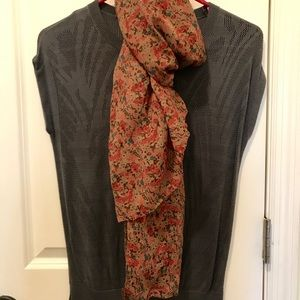 Scarf/ pink with multicolored flowers